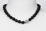 Lava 12 mm necklace with simile ball