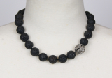 Lava 16 mm necklace w/16 mm silverball