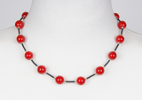 100-83 Bromo neck red coral/rub 12mm long 47 cm